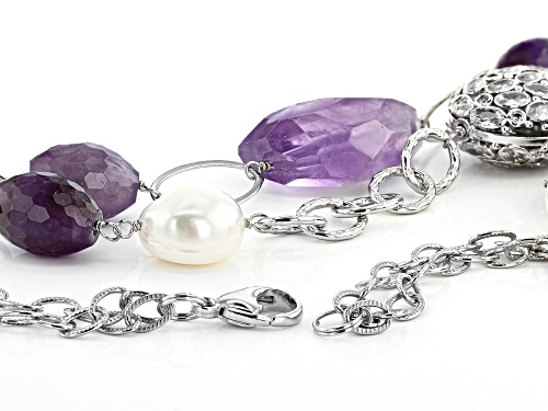 12-14mm White Cultured Freshwater Pearl Bella Luce® & Amethyst Rhodium over Silver 26 inch Necklace - Size 26