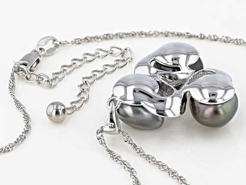 8-9mm Multi-Color Cultured Keshi Tahitian Pearl Rhodium Over Sterling Silver Pendant With Chain