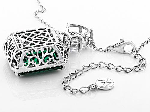 Charles Winston For Bella Luce® Emerald & Diamond Simulants Rhodium Over Sterling Pendant & Chain