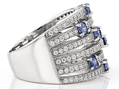 Bella Luce ® 2.40ctw Tanzanite And White Diamond Simulants Rhodium Over Sterling Silver Ring - Size 8