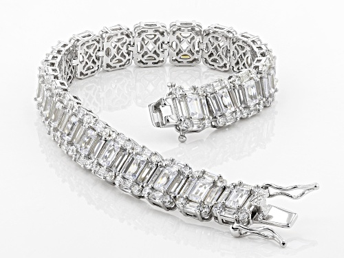 Bella Luce ® 20.00CTW White Diamond Simulant Rhodium Over Sterling Silver Bracelet - Size 7.25