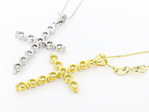 Bella Luce ®5.20ctw Rhodium Over Sterling Silver And Eterno ™Yellow Pendant With Chain-Set Of 2