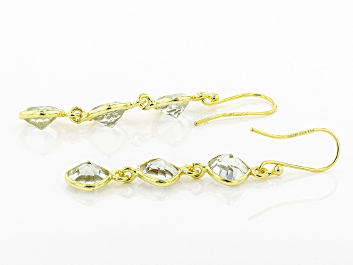8.73ctw Square Cushion Prasiolite 14k Yellow Gold Over Sterling Silver 3-Stone Dangle Earrings