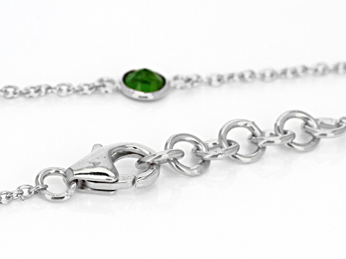 2.75ctw Round Russian Chrome Diopside Sterling Silver Station Necklace - Size 18
