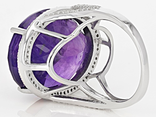 25.00CT OVAL AFRICAN AMETHYST WITH .60CTW ROUND WHITE ZIRCON STERLING SILVER RING - Size 7