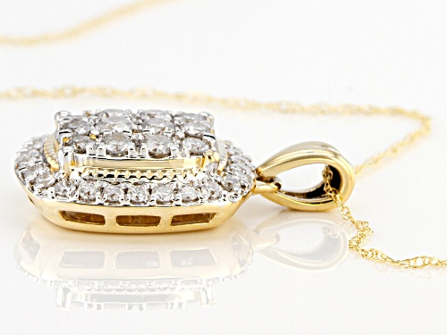 1.00ctw Round White Diamond 10K Yellow Gold Pendant With 18 Inch Rope Chain