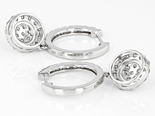 1.50ctw Round White Diamond 10k White Gold Dangle Earrings