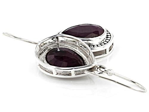 8.00ctw Pear Shaped Ruby Sterling Silver Earrings