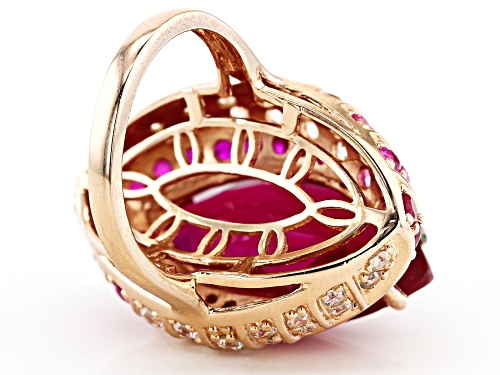 16.98ctw Lab Created Ruby, Lab Created Pink Sapphire & White Zircon 18k Rose Gold Over Silver Ring - Size 7