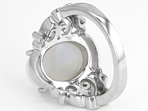 14X10mm Oval cabochon Rainbow Moonstone Rhodium Over Sterling Silver Solitaire Ring - Size 7