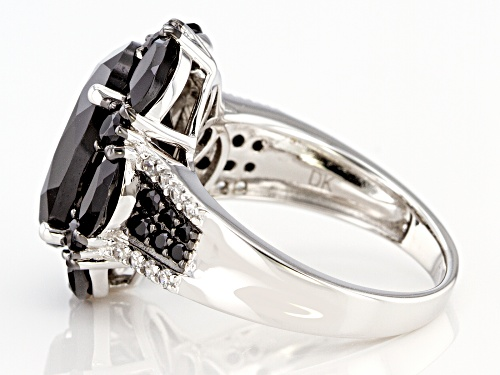 8.57ctw Mixed Shape Black Spinel & .23ctw Zircon Rhodium Over Sterling Silver Ring - Size 8