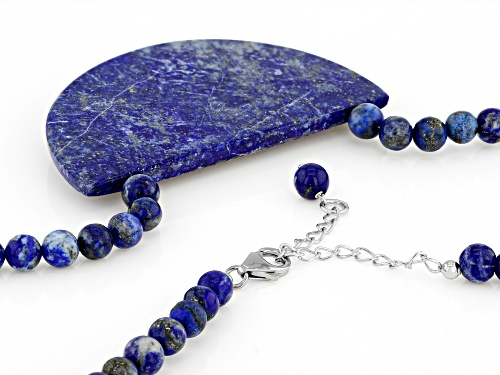 Free-Form and Round Lapis Lazuli Bead Rhodium Over Sterling Silver Necklace - Size 18