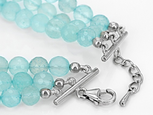 5.5mm-6.5mm Round Aqua Color Blue Chalcedony Bead Sterling Silver 3-Strand Bracelet - Size 7.25