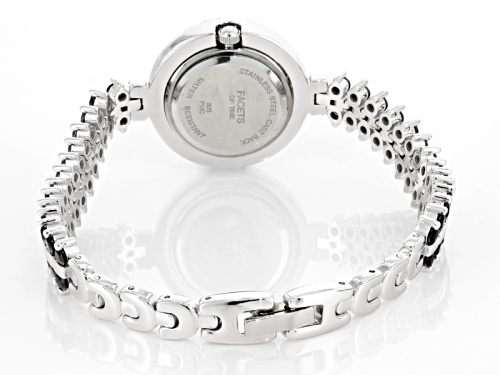 Facets Of Time ™ 9.75ctw Round Black Spinel & 1.15ctw Round White Zircon Sterling Silver Watch