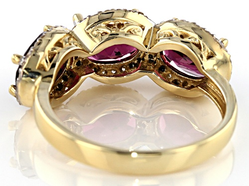 3.90ctw Oval Grape Color Garnet With 0.36ctw Round White Zircon 10k Yellow Gold 3-Stone Ring - Size 7