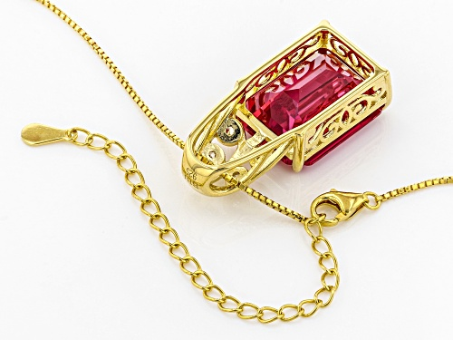 13.20CT LAB CREATED PADPARADSCHA SAPPHIRE AND .08CTW ZIRCON 18K GOLD OVER SILVER PENDANT W/ CHAIN