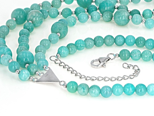 6mm and 10mm Round Russian Amazonite, Sterling Silver Bead Necklace - Size 20