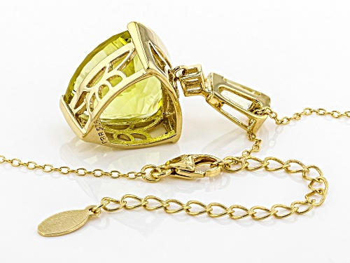 9.72CTW CANARY YELLOW QUARTZ WITH .14CTW WHITE ZIRCON 18K GOLD OVER SILVER PENDANT WITH CHAIN
