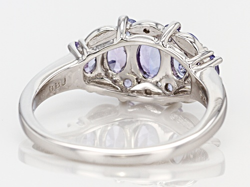 1.11ctw Oval & Round Tanzanite With .01ctw Two Diamond Accent Rhodium Over Sterling Silver Ring - Size 10