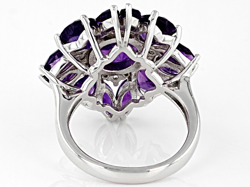 5.80CTW MIXED SHAPES AFRICAN AMETHYST WITH .28CTW WHITE ZIRCON RHODIUM OVER STERLING SILVER RING - Size 6