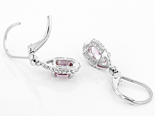 .85ctw Oval Precious Pink Topaz Solitaire Sterling Silver Dangle Earrings