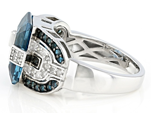 6.38ct LONDON BLUE TOPAZ WITH 0.46ctw BLUE AND WHITE DIAMOND RHODIUM OVER STERLING SILVER RING - Size 7