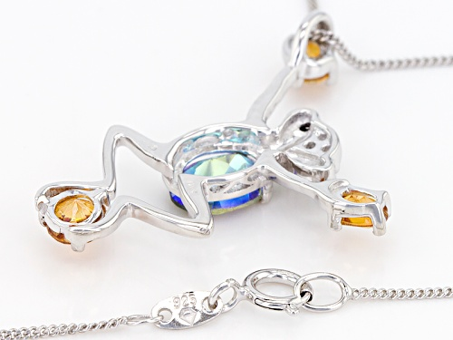 1.65ctw Green Halo™ & Dragonfly™ Topaz, Black Spinel & White Topaz Silver Frog Pendant W/Chain