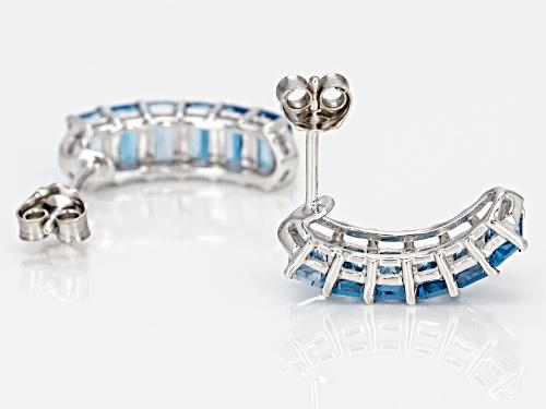 3.26ctw Emerald Cut London blue topaz & .02ctw Zircon Rhodium Over Silver Earrings
