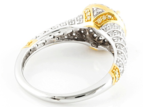 1.75ct Lab Strontium Titanate,.54ctw White Zircon & .06ctw Yellow Diamond Accent 10k White Gold Ring - Size 12