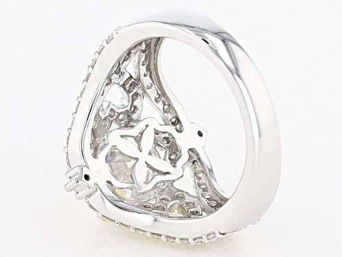Moissanite Fire® 4.26ctw Dew Asscher Cut And Round Platineve™ Ring - Size 5