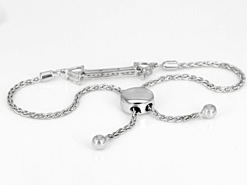 Moissanite Fire® .70ctw Dew Round And Trillion Cut Platineve ™ Adjustable Bracelet