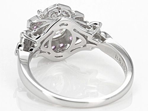 Moissanite Fire® 1.32ctw Dew And .27ctw Pink Sapphire Platineve™ Ring - Size 9