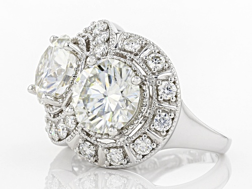 MOISSANITE FIRE(R) 9.14CTW DEW ROUND PLATINEVE(R) RING - Size 10
