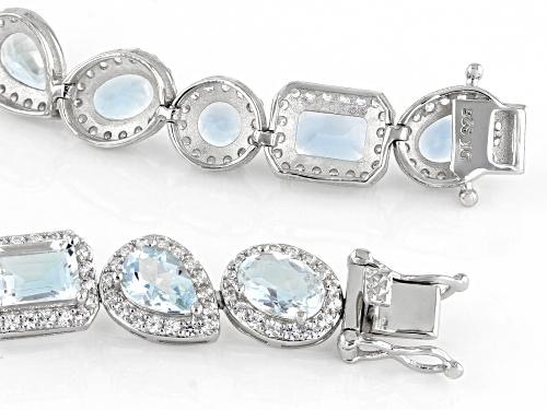 11.50ctw Mixed Shape Aquamarine With 4.36ctw Zircon Rhodium Over Silver Tennis Bracelet - Size 7.25