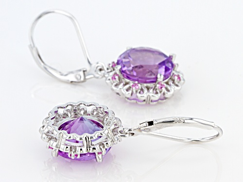 5.95ctw Round rose de France Amethyst With .14ctw Lab Created Sapphire Rhodium Over Silver Earrings