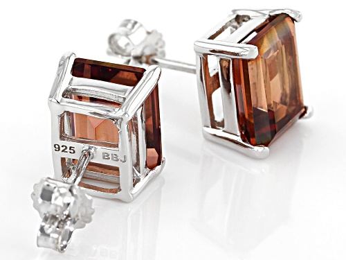 5.32ctw Emerald Cut Red Labradorite Rhodium Over Sterling Silver Stud Earrings