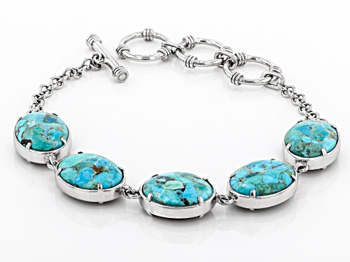 16x12mm oval cabochon Turquoise and 16x12mm Abalone Shell Rhodium Over Silver Reversible Bracelet - Size 7.25
