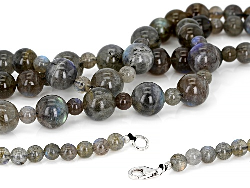 6-12MM ROUND CABOCHON LABRADORITE BEADS RHODIUM OVER STERLING SILVER 3-STRAND NECKLACE - Size 22