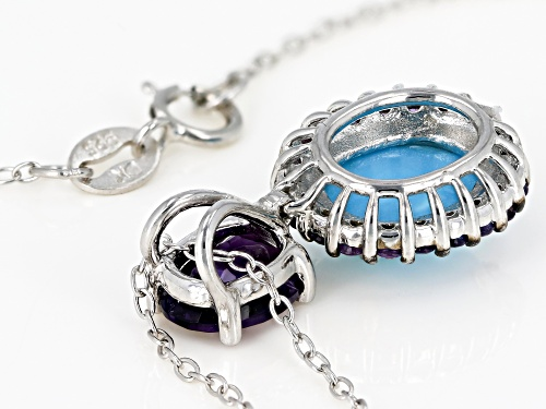 10X8mm oval Sleeping Beauty turquoise & 1.62ctw African amethyst rhodium over silver pendant w/chain