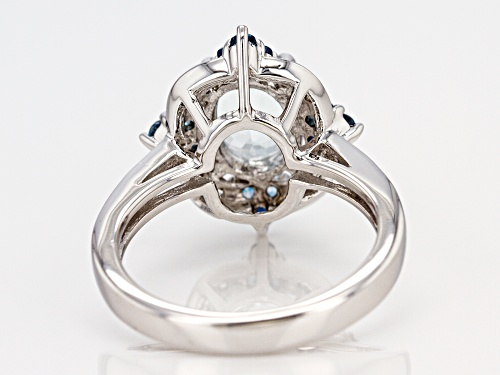 1.44ct Aquamarine with .30ctw London Blue Topaz and .07ctw White Zircon Rhodium Over Silver Ring - Size 9