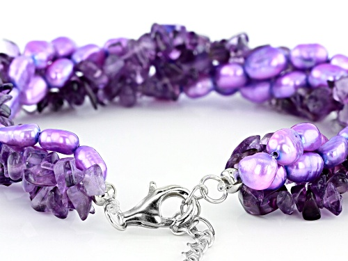 Free-Form Amethyst Chips & Purple Cultured Freshwater Pearl Silver 4-Strand Torsade Bracelet