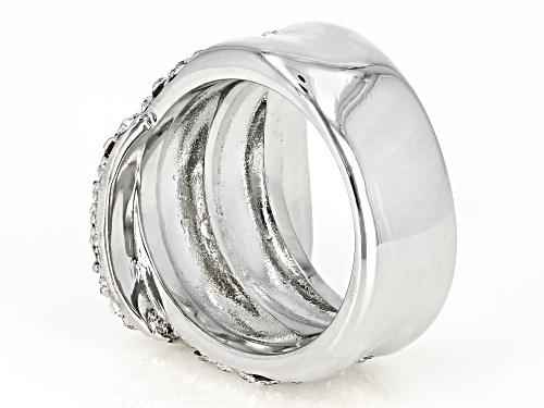 Off Park ® Collection White Crystal Silver Tone Belt Buckle Ring - Size 6