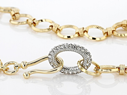 Off Park ® Collection White Crystal Gold Tone Chain Necklace With Pave Accents