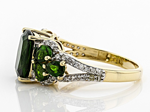 Park Avenue Collection® 4.32ctw Chrome Diopside and .33ctw Round White Diamond 14k Yellow Gold Ring - Size 5