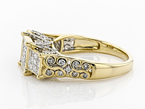 Park Avenue Collection® 1.25ctw Princess Cut And Round White Diamond 14K Yellow Gold Ring - Size 7