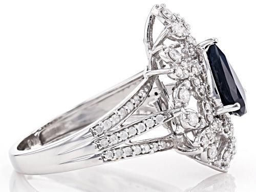 Park Avenue Collection® 1.40ct Blue Sapphire & 0.75ctw White Diamond 14K White Gold Cocktail Ring - Size 7
