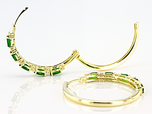 Pre-Owned 2.40ctw Oval Chrome Diopside With .30ctw White Zircon 18K Yellow Gold Over Silver Hoop Ear