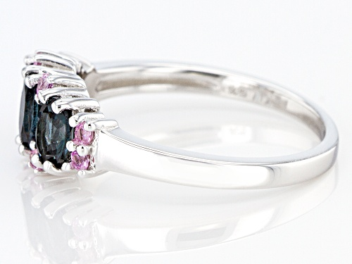 Pre-Owned .87ctw Oval Platinum Color Spinel With .20ctw Round Pink Sapphire Rhodium Over Silver Band - Size 6
