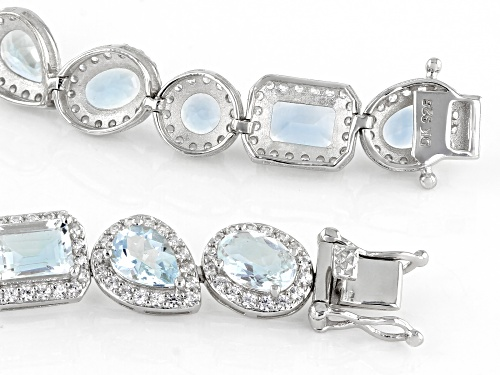 Pre-Owned 11.50ctw Mixed Shape Aquamarine With 4.36ctw Zircon Rhodium Over Silver Tennis Bracelet - Size 7.25