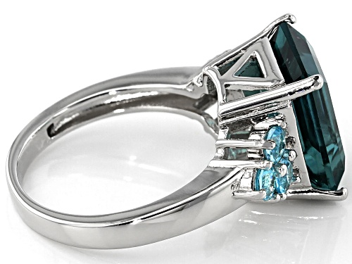 Pre-Owned 6.18CT EMERALD CUT TEAL FLUORITE & .62CTW BLUE APATITE RHODIUM OVER STERLING SILVER RING - Size 7